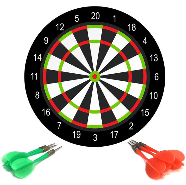 Picture of darts game with dartboard and color arrows isolated on white